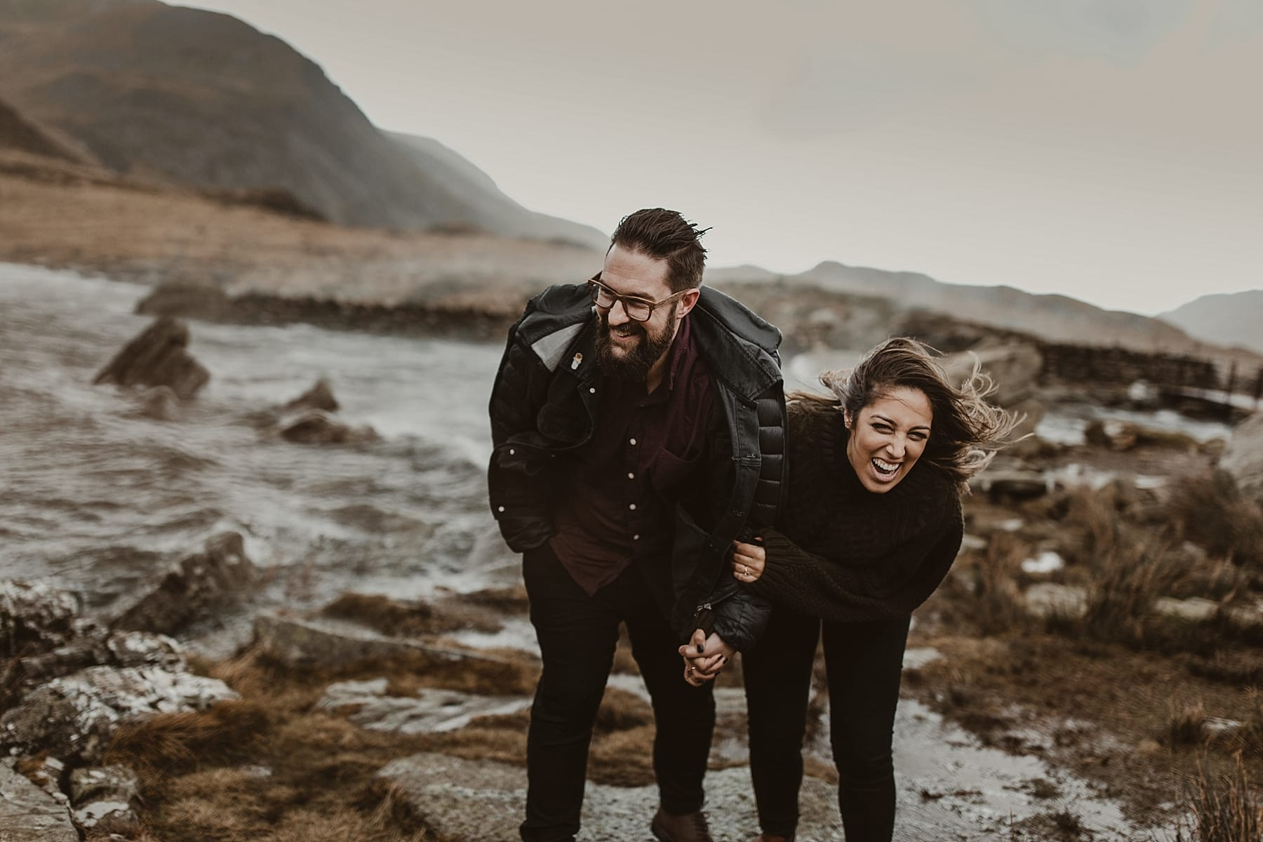 Engagement shoot snowdonia laughing