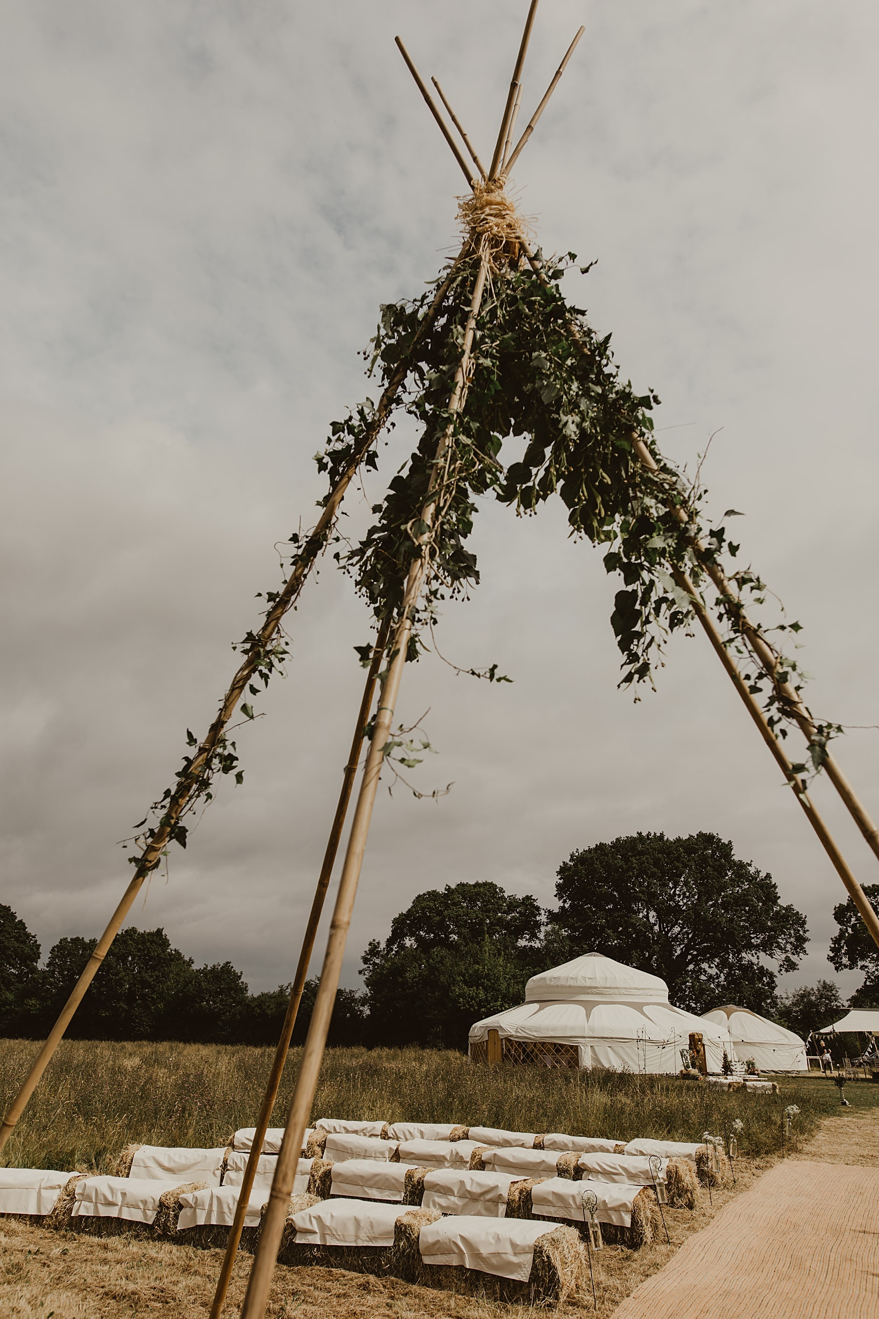 Naked tipi ceremony in field Wales
